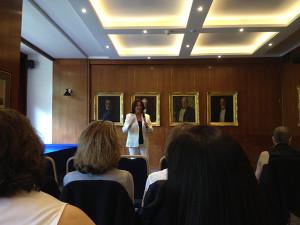 Ysanne Lewis speaking at American Women's Club, London